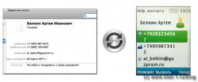 Пример переноса записи Адресной книги Mac в Nokia 6303i Classic