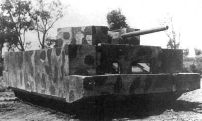 Т-34 с экранированной железобетонными плитами броней