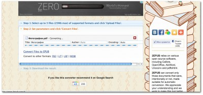 Окно онлайн-конвертера .pdf в .epub