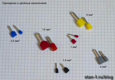 Цветовая маркировка одинарных и двойных наконечников
