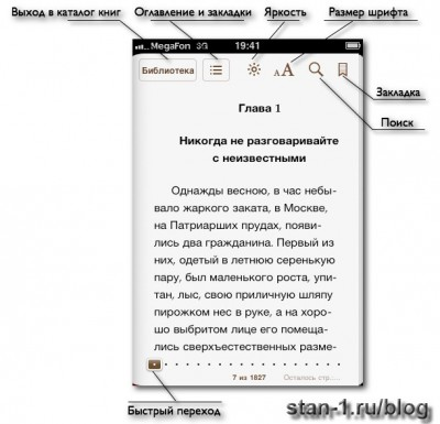 Описание управления приложением Apple iBooks для чтения книг на iPhone