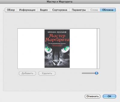 Окно добавления обложки в книгу ePub в iTunes