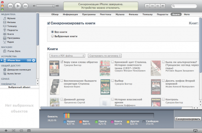 Окно настройки правил синхронизации книг для iBooks
