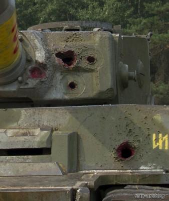 Следы стендового обстрела для выявления уязвимостей танка
