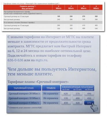 Предложение срочных договоров на услуги ШПД операторами СЗТ и МГТС