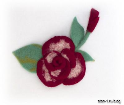 Роза, изготовленная методом мокрого валяния