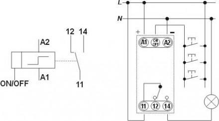 Схема включения света со множества точек на основе реле памяти