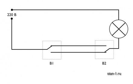 Схема включения света с разных точек при использовании проходных (перекидных) выключателей