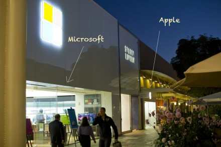 Магазины Apple и Microsoft в Stanford Shopping Center